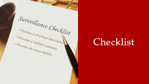 Surveillance Checklist - Private Investigators